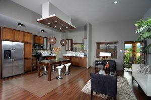 living, dining and kitchen space in vacation rental apartment - choose to be happy