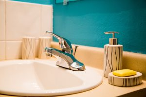 bathroom sink details at the westbury vacation rental apartment - choose to be happy