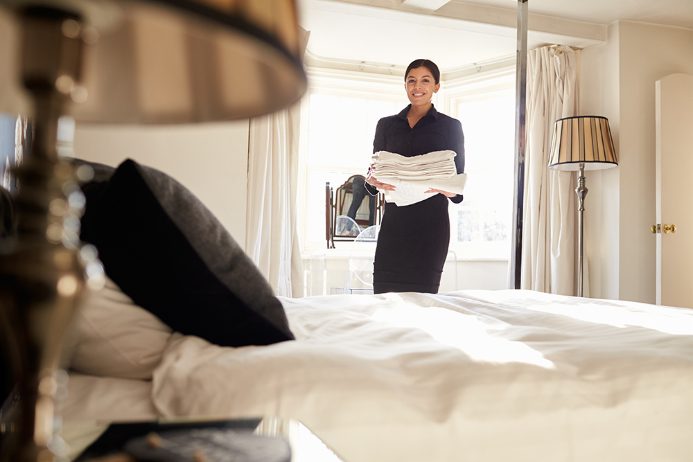housekeeping delivering towels - choose to be happy